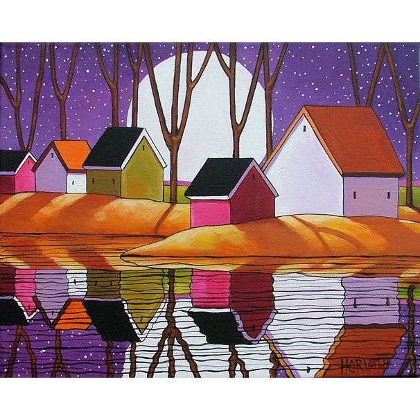 ORIGINAL Painting Folk Art Purple Night Stars & Cottages Fine Artwork by Cathy Horvath Buchanan via Etsy.