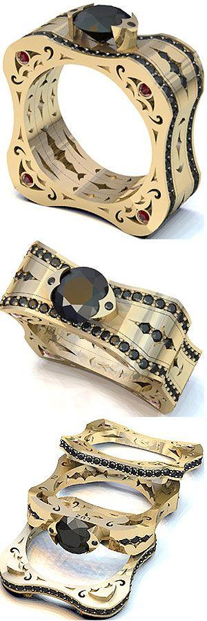LUZ ENGAGEMENT SET 18K Yellow Gold, Black Diamonds, Rubies... @}-,-;--