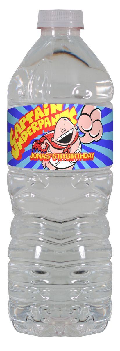 Captain Underpants personalized water bottle labels – worldofpinatas.com