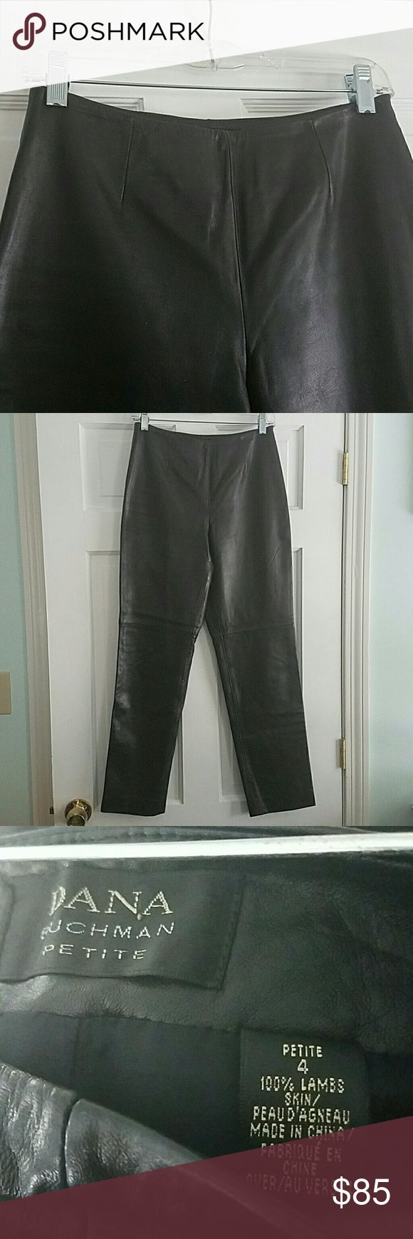 100% Leather pants Excellent condtion. Dana Buchman petite size 4 black leather pants. Dana Buchman Pants