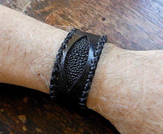 Cool Genuine 33 MM Wide Black Leather Evil Eye Bracelet
