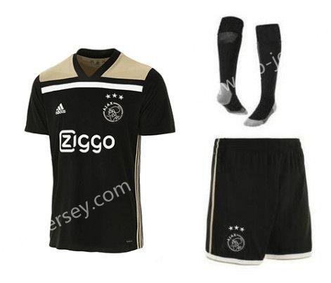 9ceb5cad2e7 2018-19 Ajax Away Black Thailand Soccer Uniform With Socks