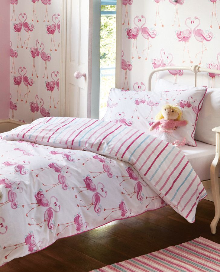 Pink Girl's Room Wallpaper | Pretty Flamingo Wallpaper