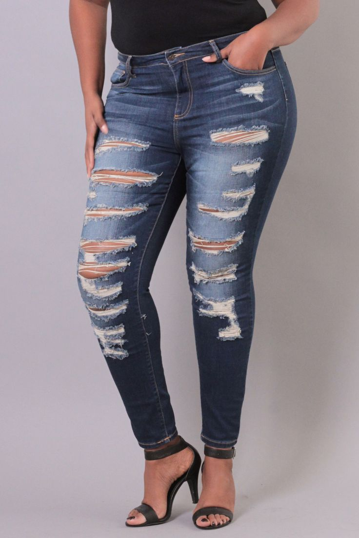 Plus Size Stretch Destroyed Skinny Jean | Medium Wash