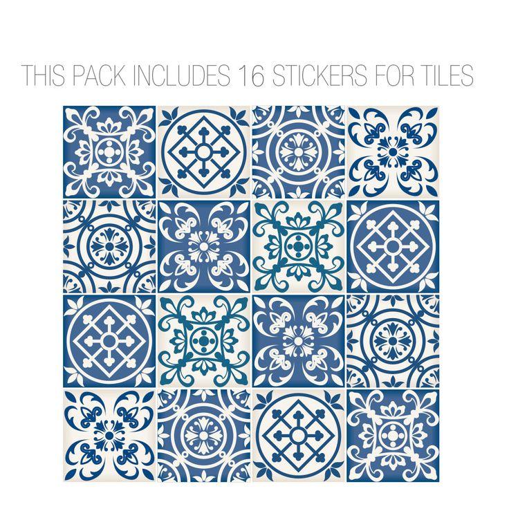 Autocollant Carrelage Modèle Espagnol Bleu (Pack avec 16) - Stickers muraux offrent une forme unique de décoration et une alternative rapide.