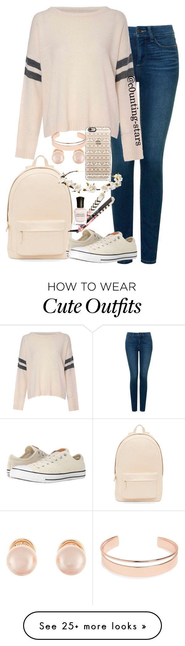 """::cute winter school outfit"" by c0unting-stars on Polyvore featuring PB 0110, NYDJ, Glamorous, Converse, Cult Gaia, Casetify, Kenneth Jay Lane, Leith, Eva NYC and Deborah Lippmann"