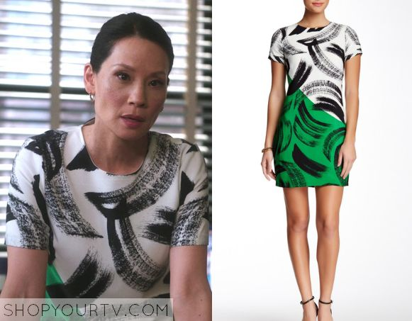 ShopYourTv:Elementary: Season 3 Epsiode 21 Joan's White/Green Brushstroke Print Dress - ShopYourTv