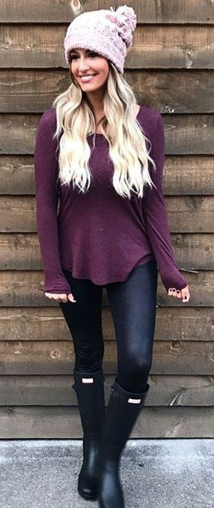 #outfits #fall #fashion Pink Beannie // Purple Sweater // Blue Skinny Jeans // Black Boots
