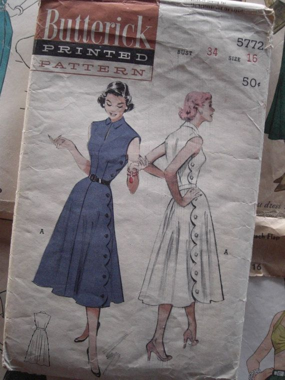 I love the scalloped edge!: Vintage Sewing Patterns, Patterns Inspiration, Vintage Patterns