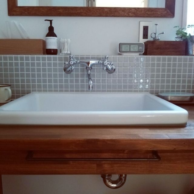 kazenさんの、バス/トイレ,洗面所,リノベーション,TOTO 実験用シンク,カクダイの水栓金具,のお部屋写真