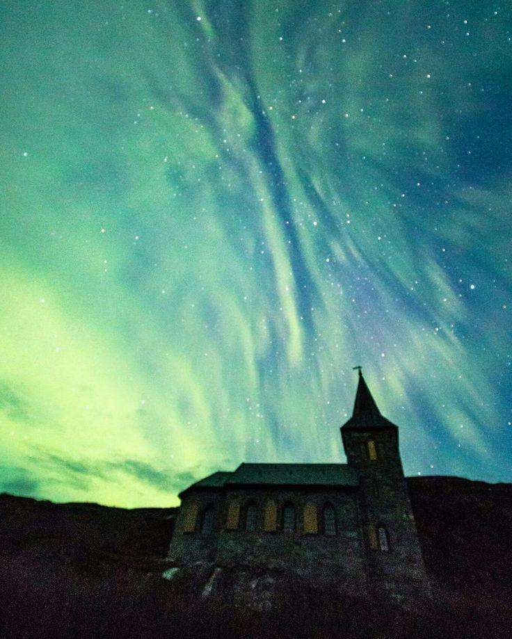 Northernlights in Norway Roy Håkon Friskilæ  Prints  #Northernlight #Northernlights #auroras #auroraborealis #astronomy #stars #church #grensejakobselv #arcticlights