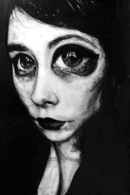A1 pencil and graphite distortion self portrait.