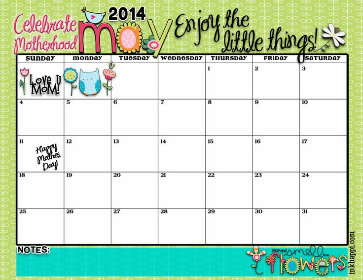 """Cute May 2014 Calendar Printable 