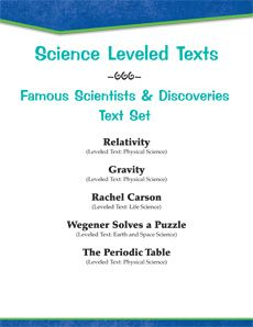 Who came up with E = mc2 again? Who helped to kick-start the #environmental movement? Who puzzled out #Pangaea? Share the stories of these famous #scientists with this #differentiated #LeveledText Set! #science Reading Level: 2.0 - 6.6