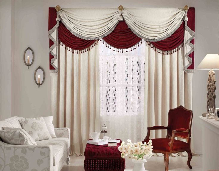 Dupioni Silk Drapes Sophisticated Curtain Cafe Curtains Window Decoration  With Curvy Red And White Valance Loft Theme On Living Room Furniture  Outdoor ...