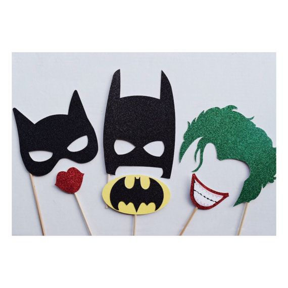Super Hero Birthday Party Photo Booth Props ; Batman, Cat Woman, The Joker Marvel Photo Prop ; Super Hero Party Decor by Lets Get Decorative