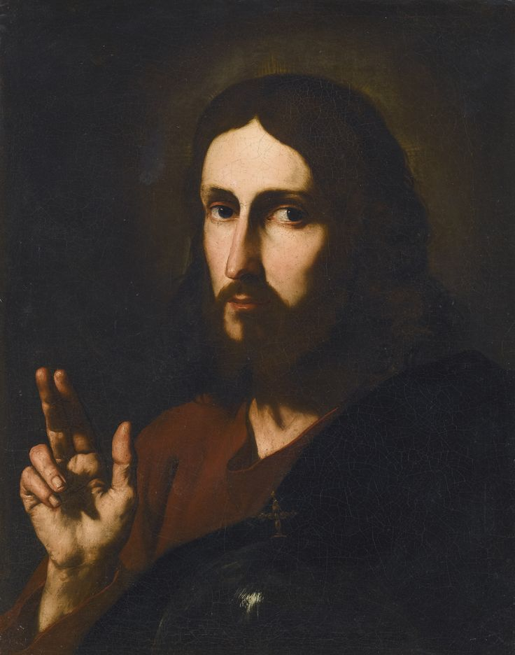 Jusepe de Ribera, called Spagnoletto JÁTIVA, VALENCIA 1591 - 1652 NAPLES CHRIST BLESSING oil on canvas 61.8 by 49.2 cm.; 24 3/8  by 19 1/4  in.