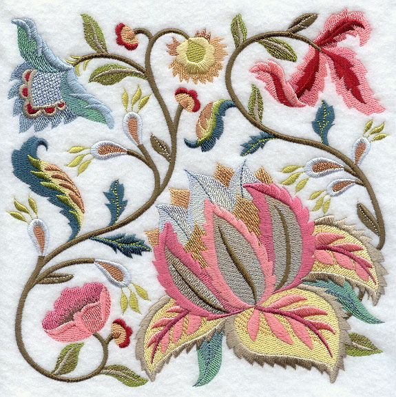Jacobean Summer Flowers Square 1