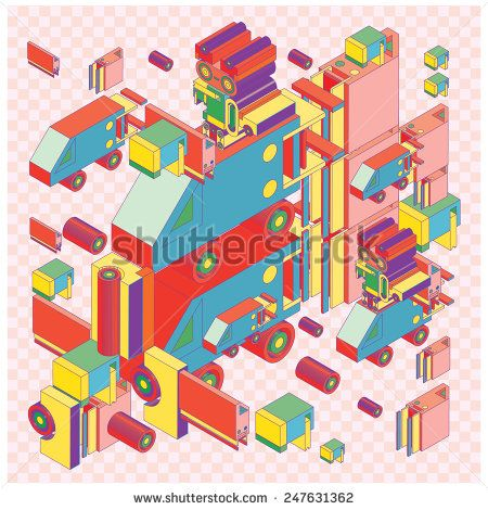 Illustration: Vector machine of robot vintage isometric By singpentinkhappy