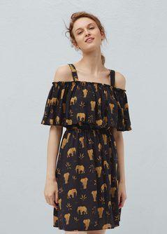 Bedrucktes Kleid mit Volant