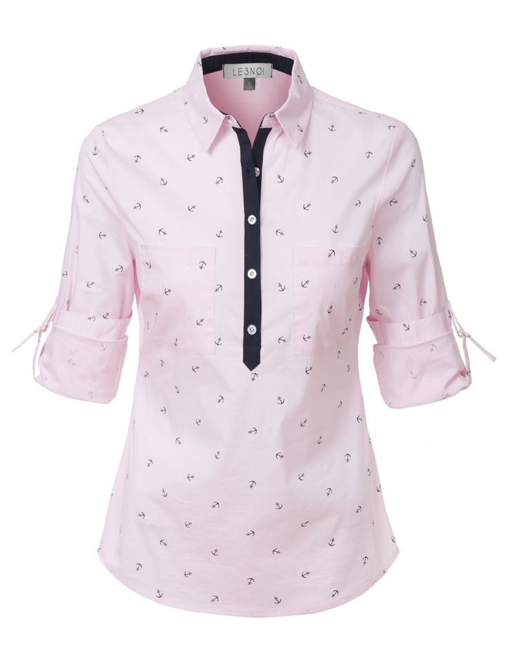 LE3NO Womens Nautical Roll Up Long Sleeves Half Button Down Shirt