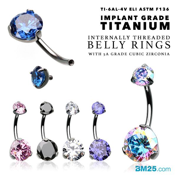 Implant Grade Titanium Internally Threaded Belly Button Rings