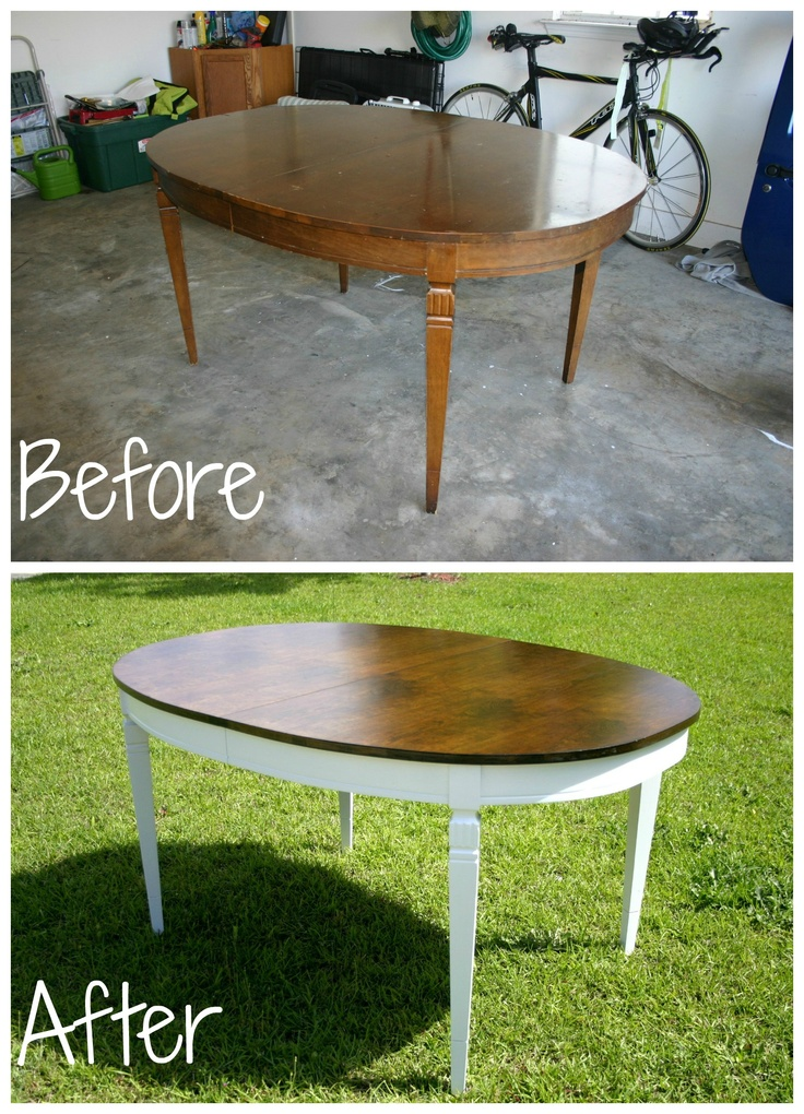 Refinished dining room table for Refinishing dining room chairs