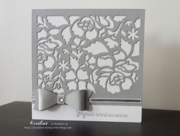 Carte grise avec le die Fleurs ouvragées stampin up http://roseline-scrap.over-blog.com/