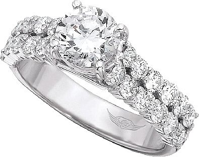 FlyerFit Double Row Common Prong Diamond Engagement Ring This Beautiful Setting By Martin Flyer Features Two Rows Of Round Brilliant Side