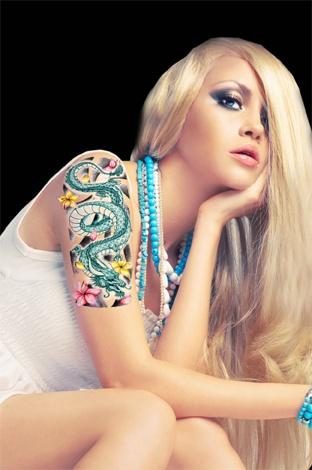 Asian Flower Dragon | TattooForAWeek.com - Temporary Tattoos