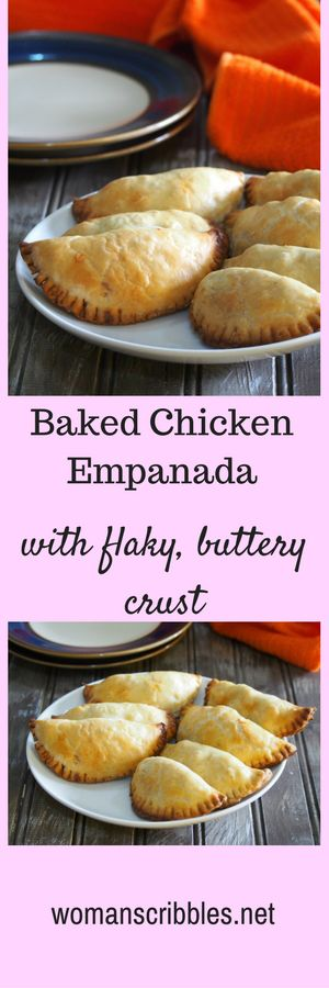 Baked chicken empanada with buttery and crisp crust.