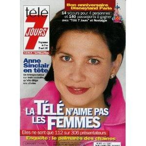 Anne Sinclair en tête : un téléspectateur sur 3 souhaite qu'elle dirige une chaîne, dans Télé 7 jours (n°1925) du 19/04/1997 [couverture mise en vente par Presse-Mémoire]