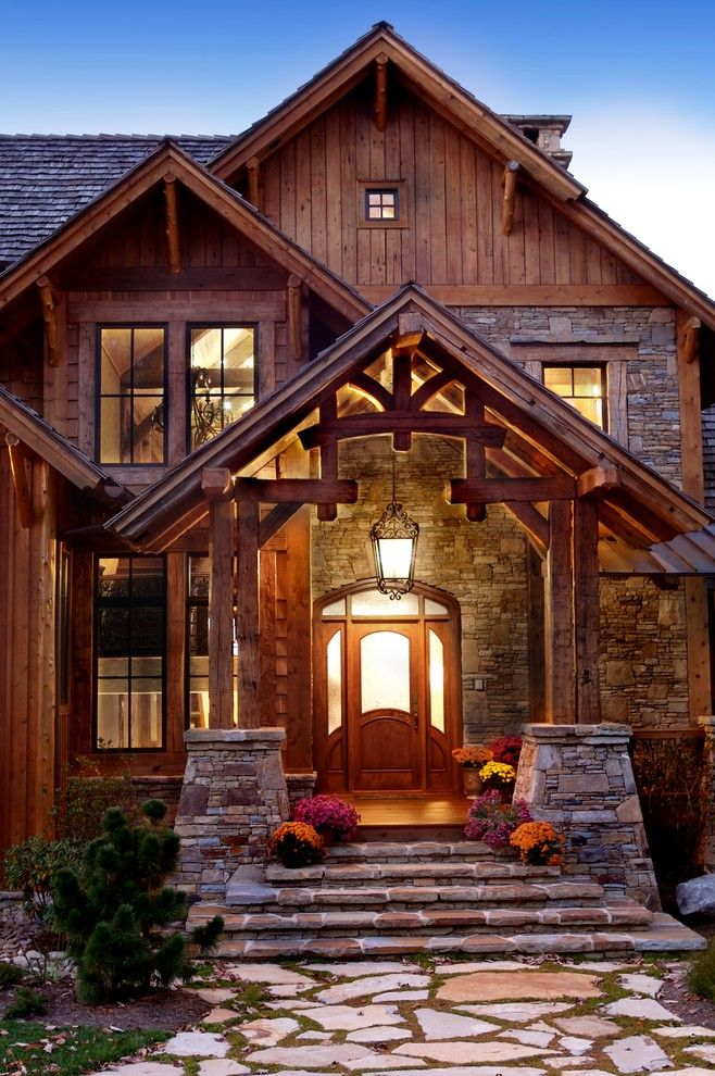 Best 25 rustic exterior ideas on pinterest rustic for Stone and log homes