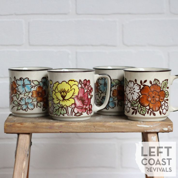 Vintage Coffee Mug Collection / Vintage Stoneware / Bohemian Floral Cup Set / Colorful Boho Kitchen Decor / Floral Tea Cup Collection by LeftCoastRevivals on Etsy https://www.etsy.com/listing/231219495/vintage-coffee-mug-collection-vintage