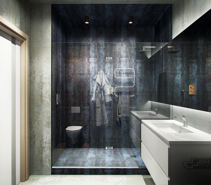 Dušo kabinos stilius, erdvės padalinimas. Bet turbūt mažai voniai per sunku. Spintelė - ne :)