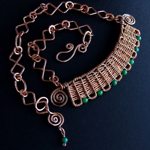 Inca HandWoven Copper and Jade Set por sparkflight en Etsy