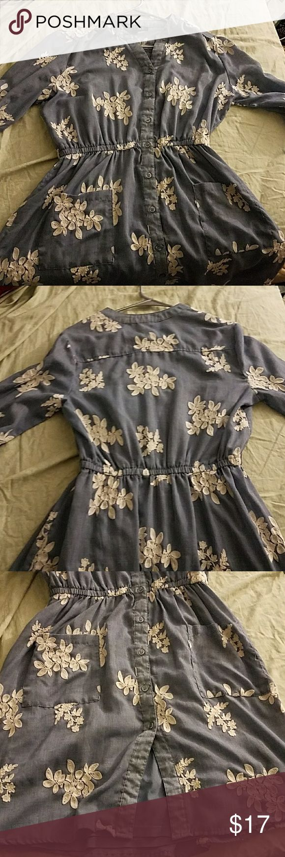 Denim Look Dress with Cream Flowers Softer than actual denim, has a detached underdress that is optional depending on the occasion In great condition  Bundle with any other item for a private discount on both! sami + dani Dresses Long Sleeve