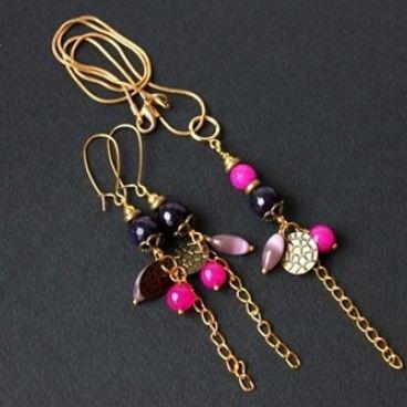 Komplet biżuterii jeżyny z malinami