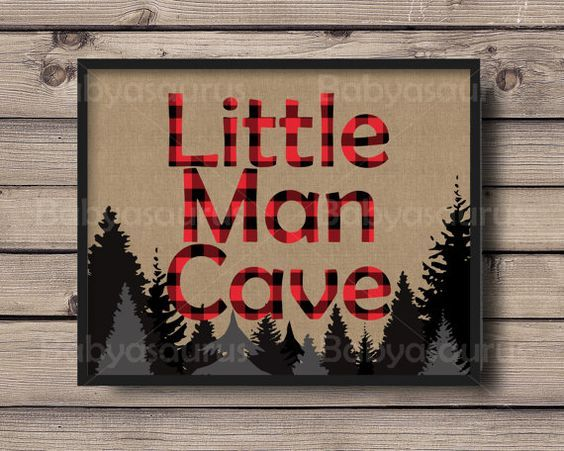 A Man Cave wall print for the bold little one who is always ready for an adventure. A burlap background with red & black rustic lumberjack style
