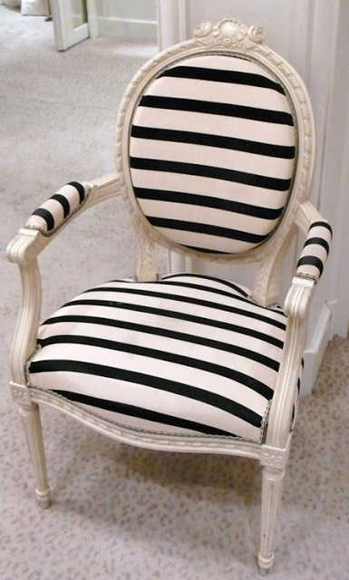 Queen Anne striped chair against pink wallpaper                                                                                                                                                                                 More