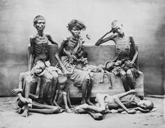 Poverty was intense during colonial era India. Numerous famines and epidemics killed millions of people each.[11][51] Upper image is from 1876-1879 famine in South of British India that starved and killed over 6 million people, while lower image is of child who starved to death during the Bengal famine of 1943.adras famine 1876
