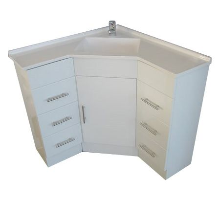 A corner vanity sink for a small bathroom but tons of for Small bathroom vanity with storage