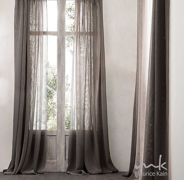 Linen Look Sheer Curtain Fabric -as seen on the Block -Southport