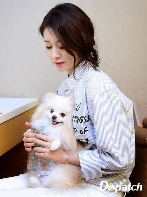 Jiyeon with her dog