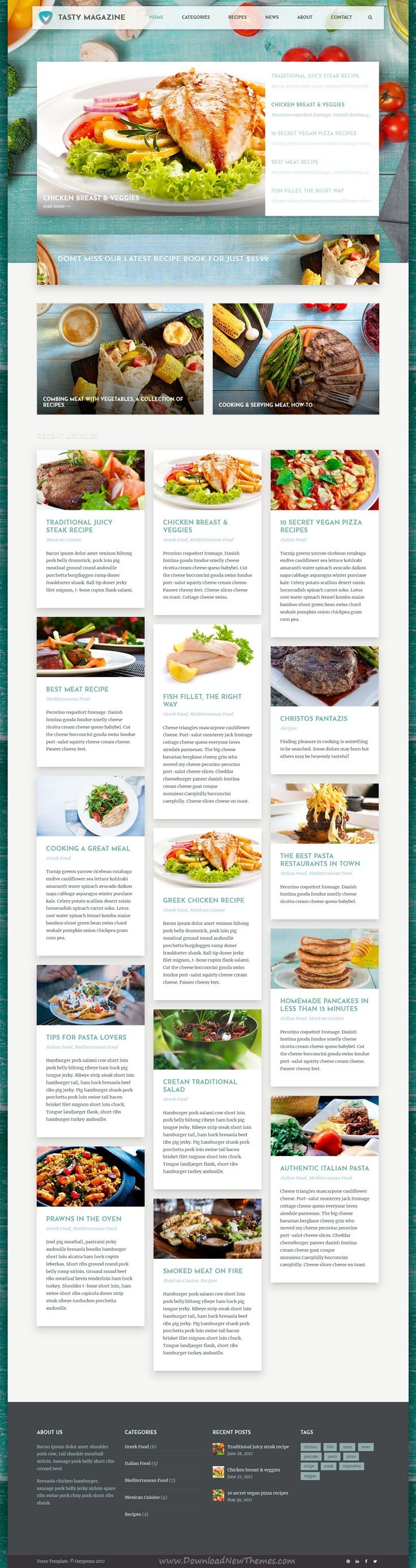 Verso is clean and modern design multipurpose responsive #WordPress theme for #food #recipes blog and magazine website with 18+ niche homepage layouts download now..