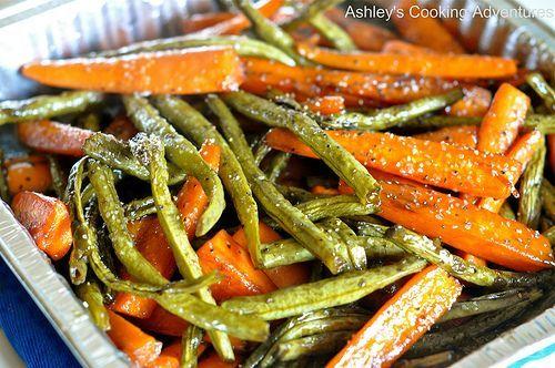Honey Balsamic Glazed Carrots and Green Beans (Gluten Free)