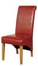 rocco dining chair, red rocco dining chair, rocco furniture, rocco dining, faux leather dining chairs, oak leg chairs, cork furniture, dublin furniture, irish furniture