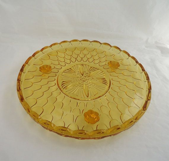 Vintage Amber Glass Cake Plate Amber Glass by thesecretcupboard