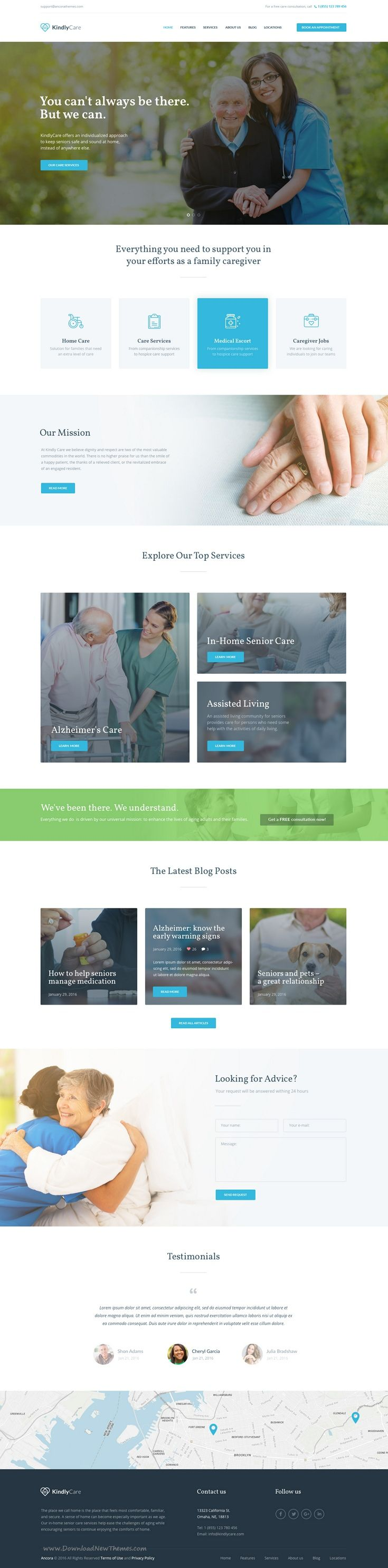 KindlyCare Theme is especially created for Senior Care WordPress Websites, but it can be easily adapted for Senior Living, Assisted Living, #Nursing Home & #Medical type of #websites.
