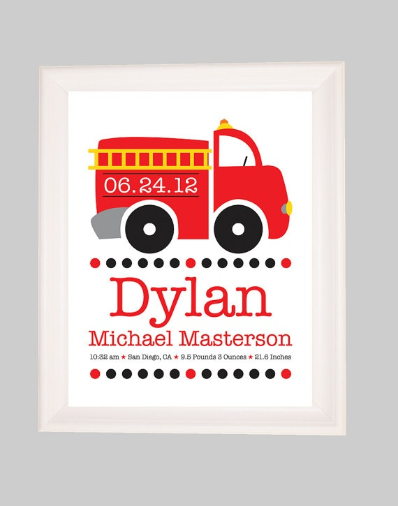 Fire Truck Nursery, Baby Boy Personalized, Firefighter Nursery, Birth  Announcement Wall Art, Birth Stats, Baby Boy Nursery, Boys Room Decor